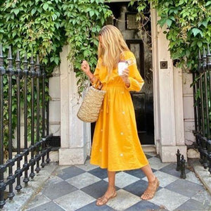Yellow Print 3/4 Sleeve Midi Dress 2