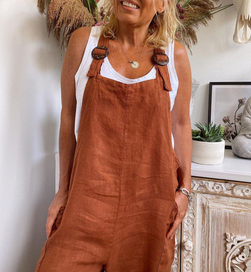 Fashion Brown Loose Casual Jumpsuit 1
