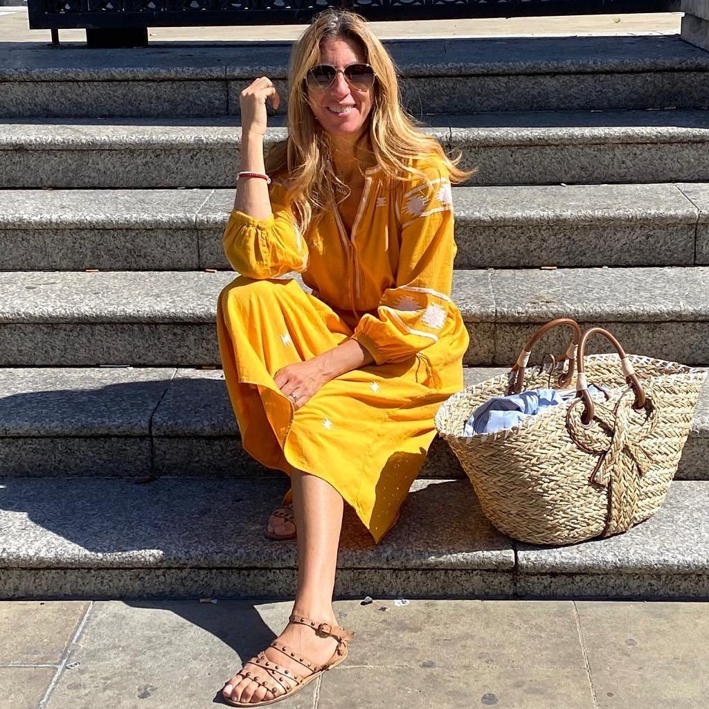 Yellow Print 3/4 Sleeve Midi Dress 3