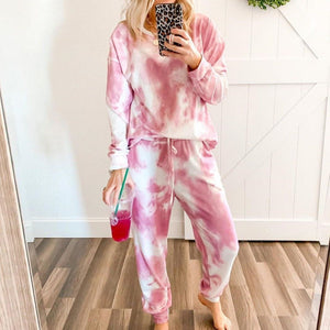 Tie-Dye Lace-up Long Sleeve Two Piece Set 0