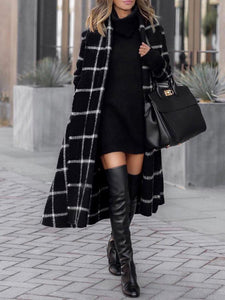 Black Plaid Style Casual Outerwear 1