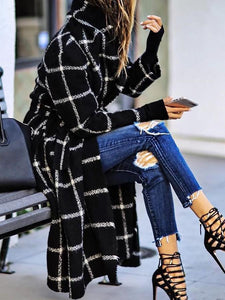 Black Plaid Style Casual Outerwear 0