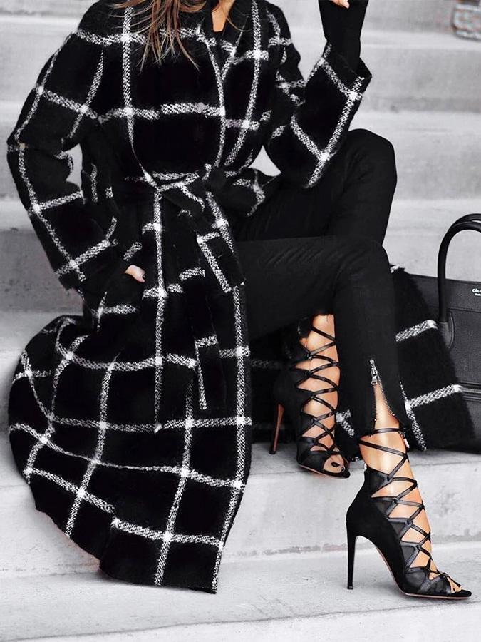 Black Plaid Style Casual Outerwear 2