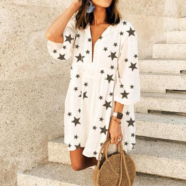 Star Printed Cover-up Dress 1
