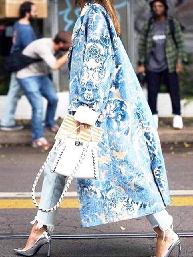 Blue Printed Loose Trench Coat 1