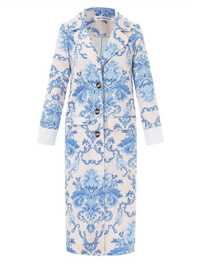 Blue Printed Loose Trench Coat 3