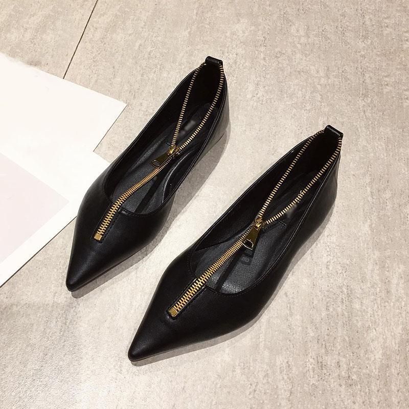 Gold zip flat shoes for women
