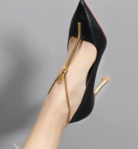 Gold zip high heels women shoes