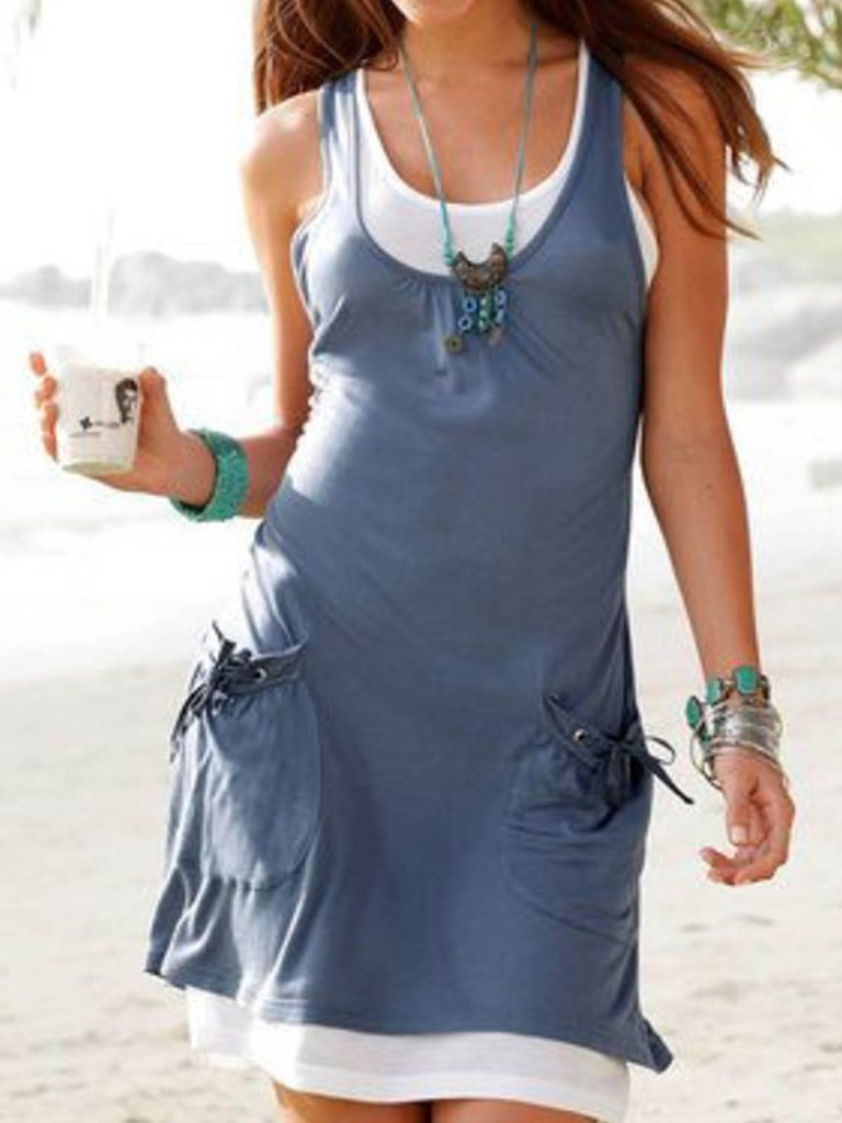 Casual two-piece pocket tie vest skirt 0