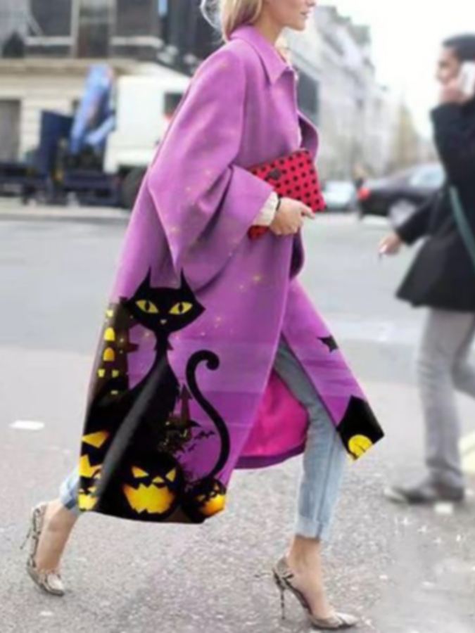 Black Cat Patterns Loose Purple Coat 0