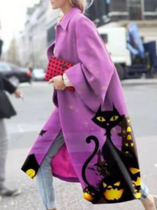 Black Cat Patterns Loose Purple Coat 2