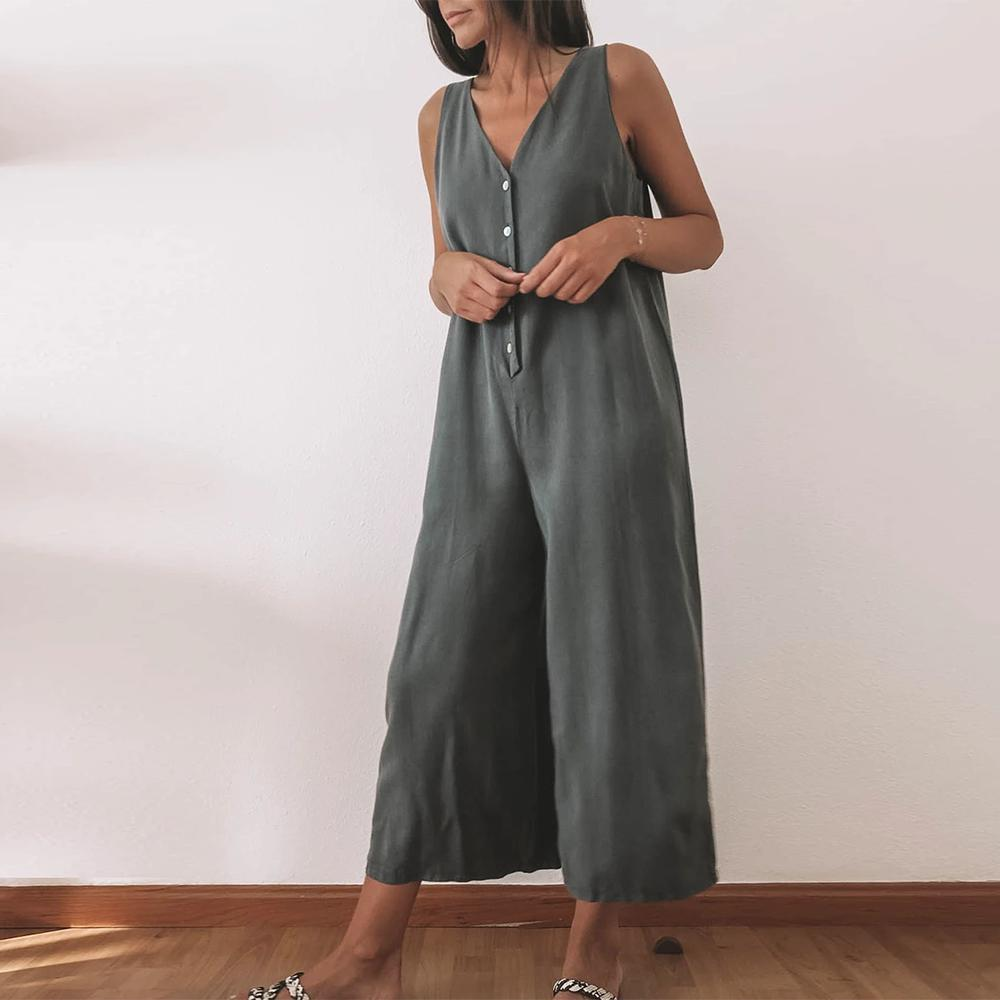 Temperament Solid Color V-Neck Sleeveless Loose Wide Leg Jumpsuit 0