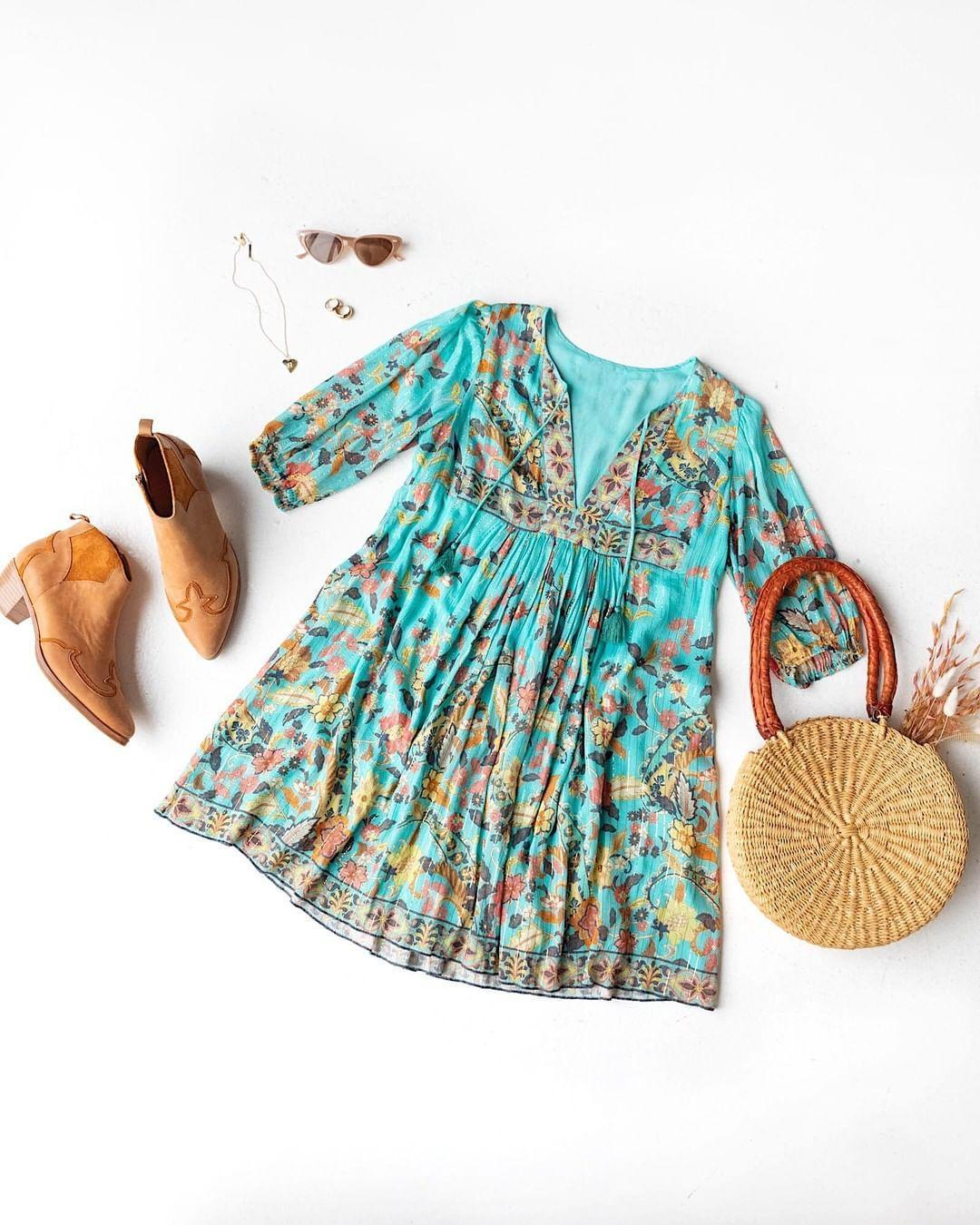 Boho Print 3/4 Sleeve Tassel Mini Dress 2
