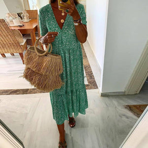 Green Printed Short Sleeve Midi Dress 0