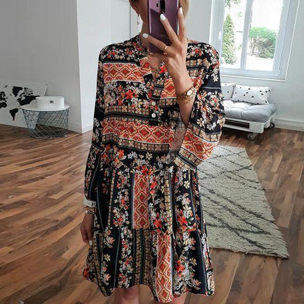 Romantic Vacation Style V-Neck Loose Printed Dress 0