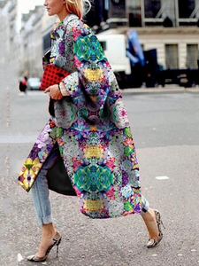 Flower Patterned Print Loose Trench Coat