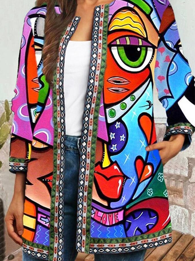 Abstract Face Print Plus Size Jackets 1