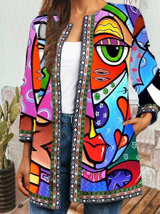 Abstract Face Print Plus Size Jackets 0