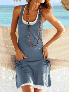 Casual two-piece pocket tie vest skirt 6