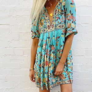 Boho Print 3/4 Sleeve Tassel Mini Dress 0