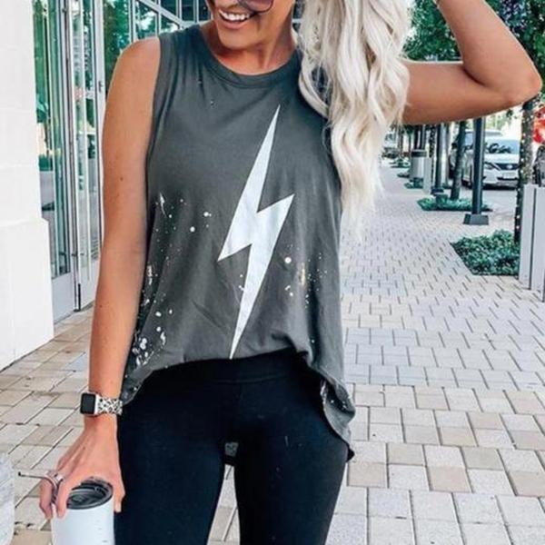 Casual Grey Round Neck Sleeveless Printed Loose T-Shirt 0