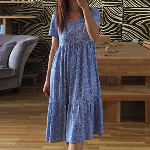 Gentle Blue Printed V-Neck Loose Pleated Dress 0