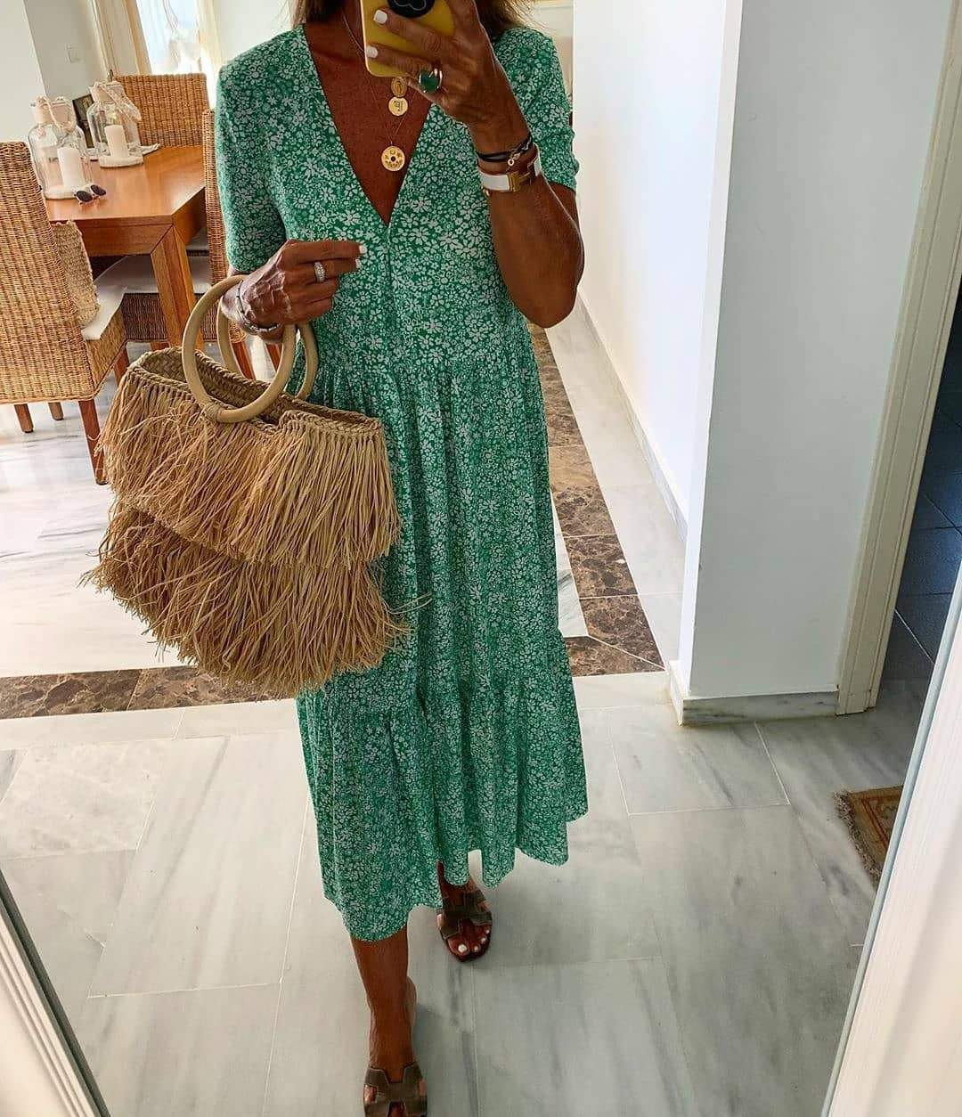 Green Printed Short Sleeve Midi Dress 3