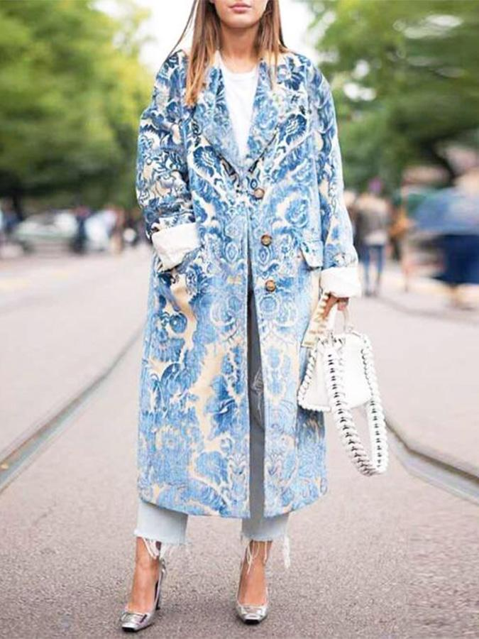 Blue Printed Loose Trench Coat 2