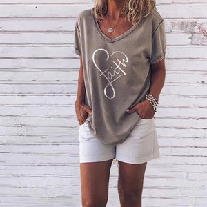 Stylish V-Neck Printed Casual T-Shirt 1