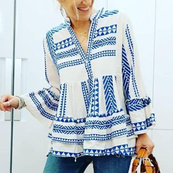 Boho Printed V-Neck Bell Sleeve Vacation Blouse 0