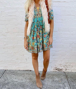 Boho Print 3/4 Sleeve Tassel Mini Dress 1