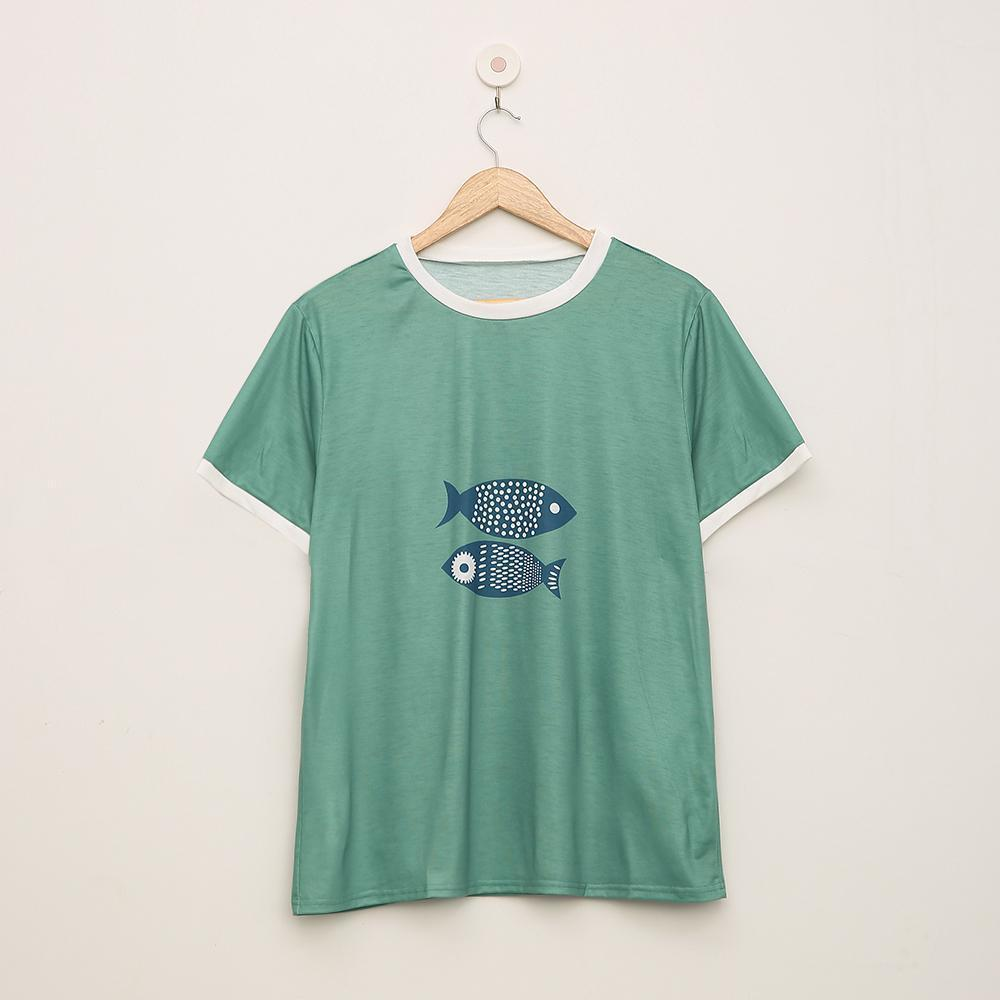 Fashion Animal Printed Round Neck T-Shirt 1