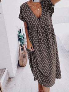 Geometric Printed Casual V-Neck Midi Dress 4