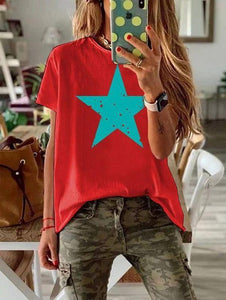 Simple Star Printed Round Neck T-Shirt 1