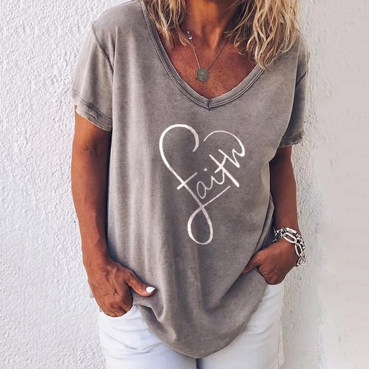 Stylish V-Neck Printed Casual T-Shirt 0