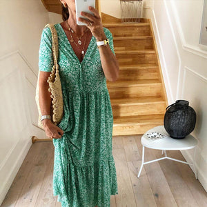 Green Printed Short Sleeve Midi Dress 1