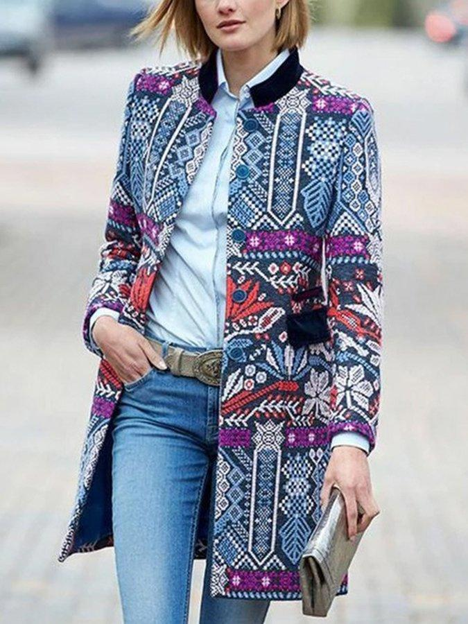 Blue Casual Tribal Printed Outerwear 0