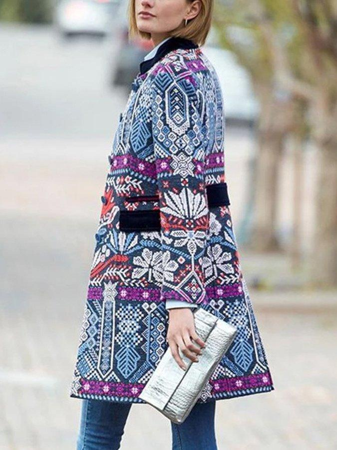 Blue Casual Tribal Printed Outerwear 2