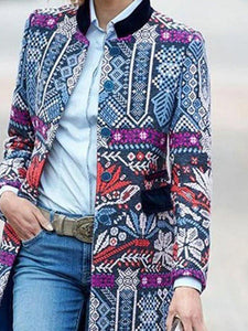 Blue Casual Tribal Printed Outerwear 1