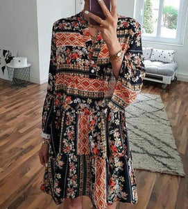 Romantic Vacation Style V-Neck Loose Printed Dress 8