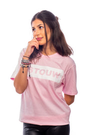 T-shirt rose à bande - Stouw