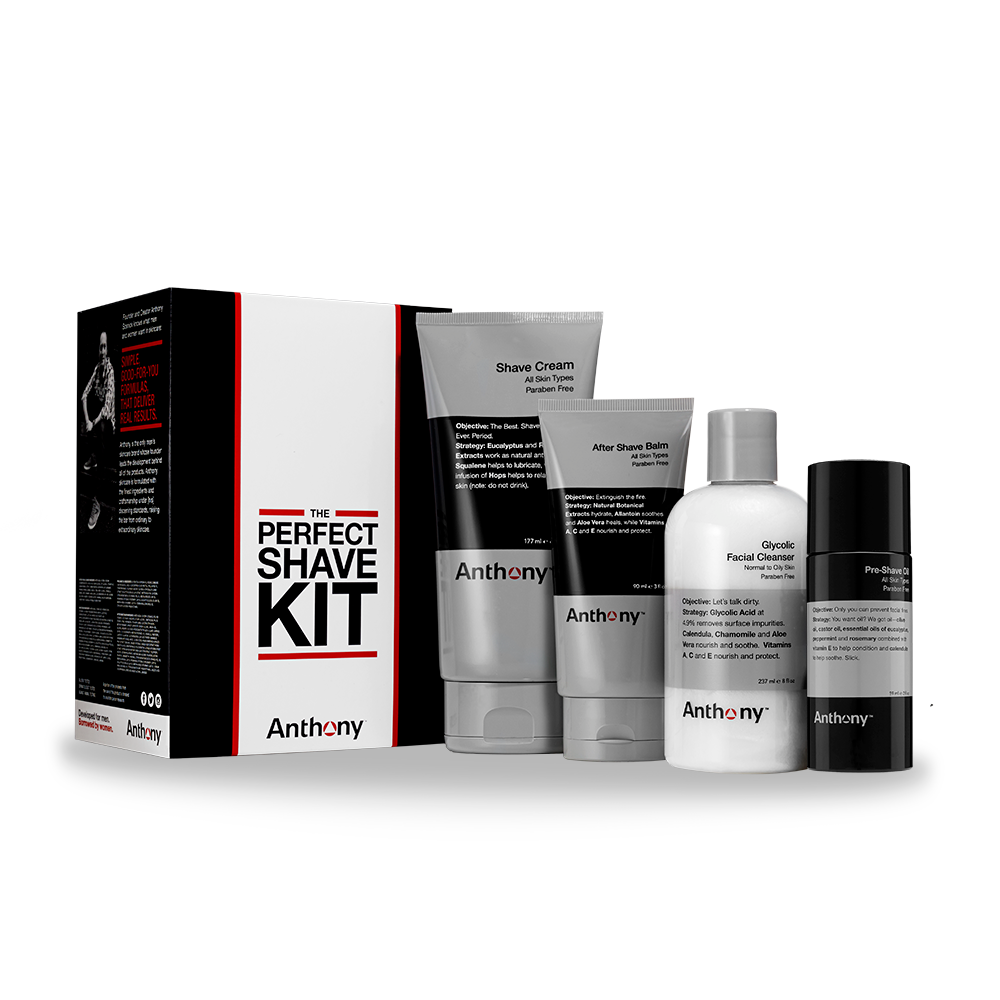 Shaving kit for men with cleanser, pre-shave oil, shave cream and balm