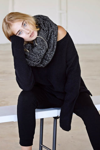 Textured Black & White Oversize Wool Scarf