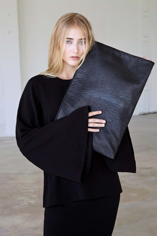 Textured Black Leather Editor Clutch