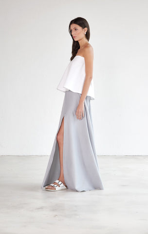 High Slit Maxi Skirt - Mist Grey & White Pinstripe