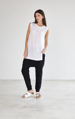Crew Neck Sleeveless Extra Long Tee - White