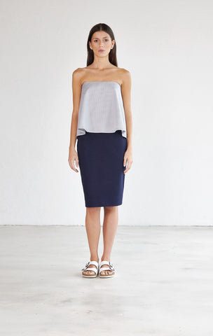 Strapless Billow Top - Mist Grey & White Pinstripe