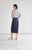 Kilt Wrap Midi Skirt - Navy