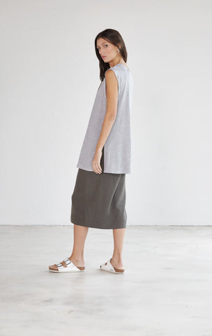 Crew Neck Sleeveless Extra Long Tee - Grey