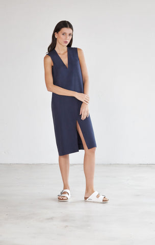 Deep V Neck Midi Dress - Navy